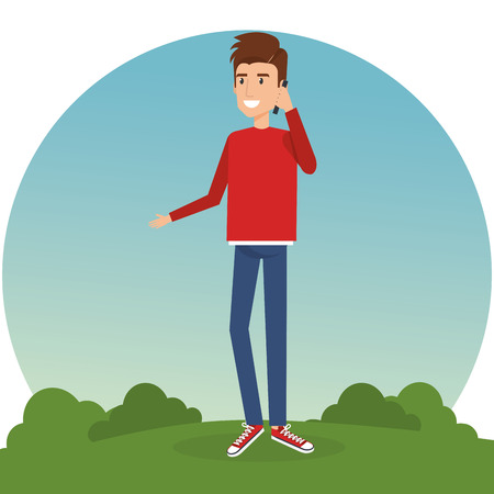 A young man calling in the park vector illustration design