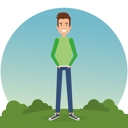 A young man in the park vector illustration design