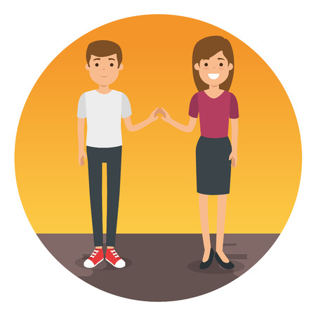 couple in place characters vector illustration design Illustration