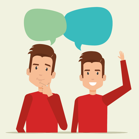 A young men with speech bubble vector illustration design