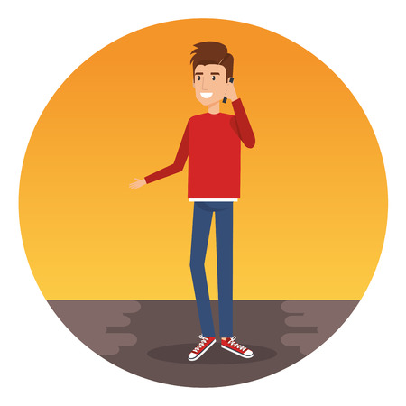 A young man calling with smartphone character vector illustration design Stock Vector - 96170092