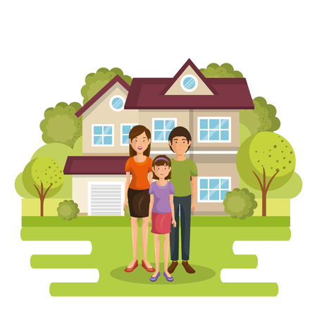 A family members outside of the house vector illustration design Ilustração