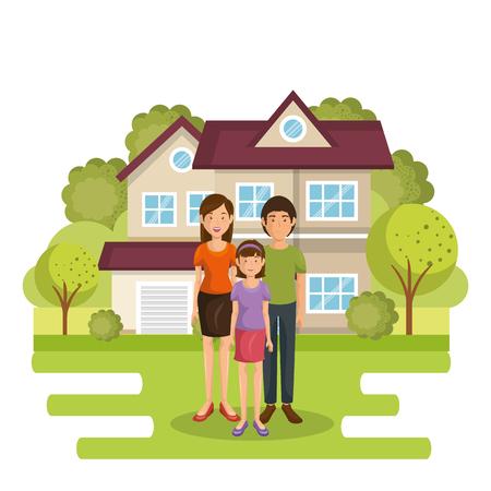 Eine Familienmitglieder außerhalb des Hauses Vektor-Illustration Design Standard-Bild - 96170242