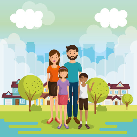 family members outside of the house vector illustration design Illustration