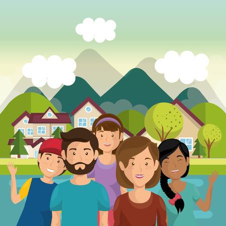 Eine Familienmitglieder außerhalb des Hauses Vektor-Illustration Design Standard-Bild - 96170260