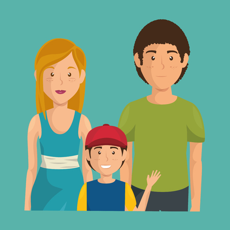 father and mother with son vector illustration design