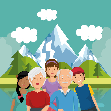 family members outside in landscape vector illustration design Illustration