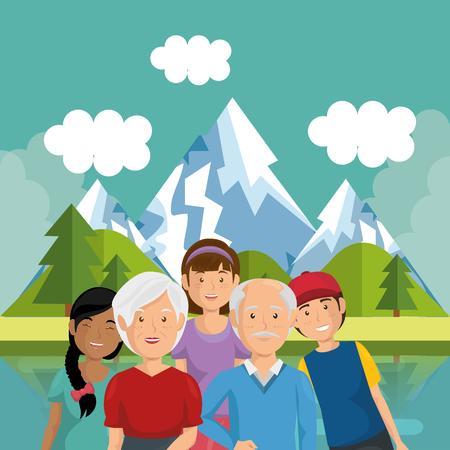 family members outside in landscape vector illustration design Illustration