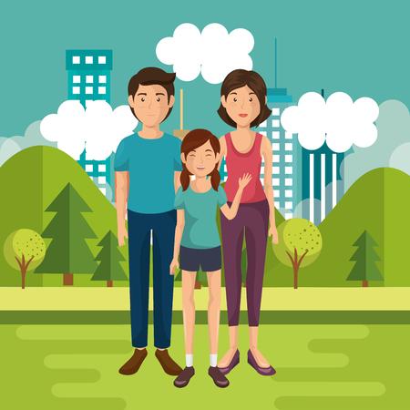 家のベクトルイラストデザインの外の家族