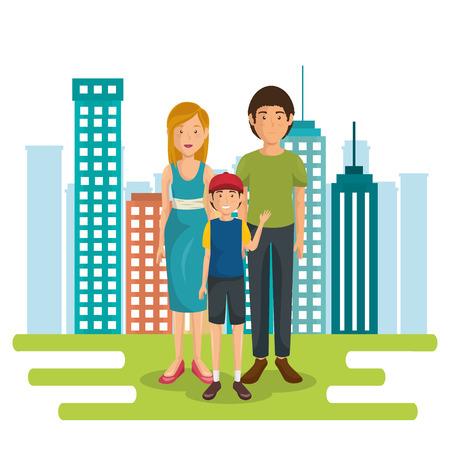 family members outside of the house vector illustration design Stock Photo