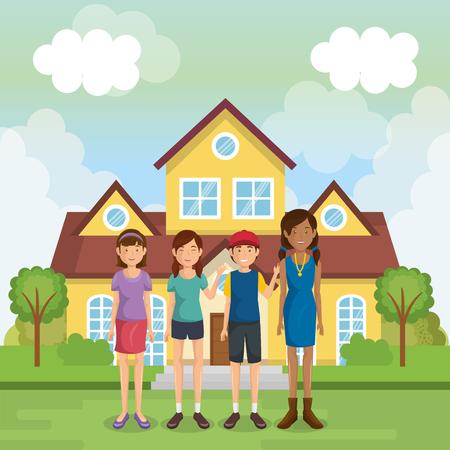 family members outside of the house vector illustration design Stock Illustration - 96159364