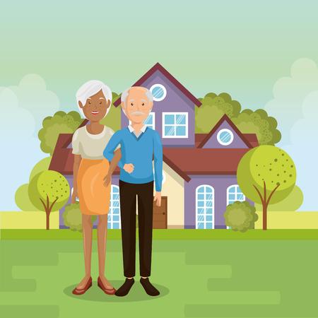 A family members outside of the house vector illustration design Ilustração