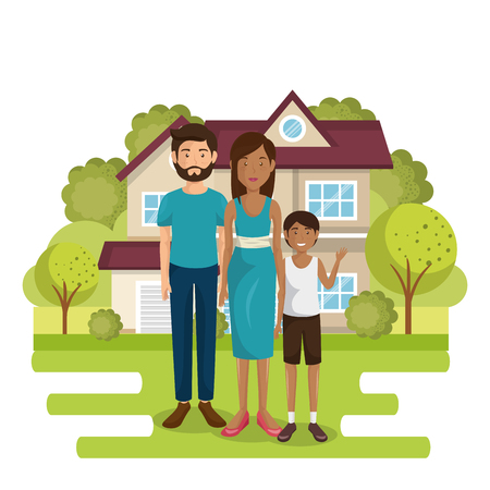 family members outside of the house vector illustration design Stock Photo