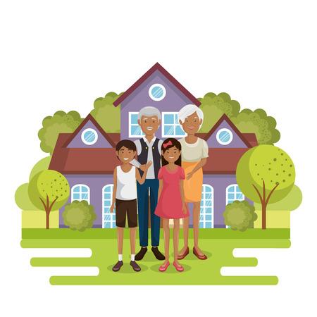 family members outside of the house vector illustration design Stock Illustration - 96159369