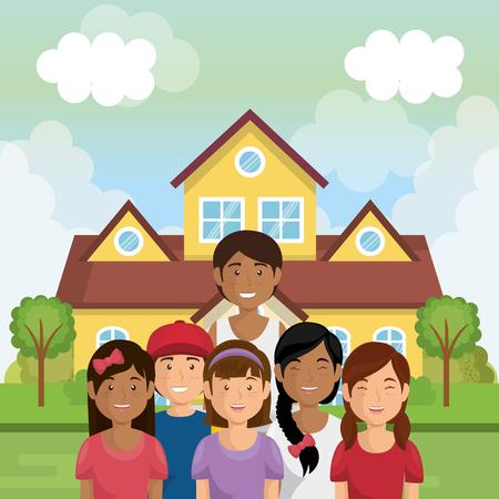 Familienmitglieder außerhalb des Hauses Vektor-Illustration Design Standard-Bild - 96159371