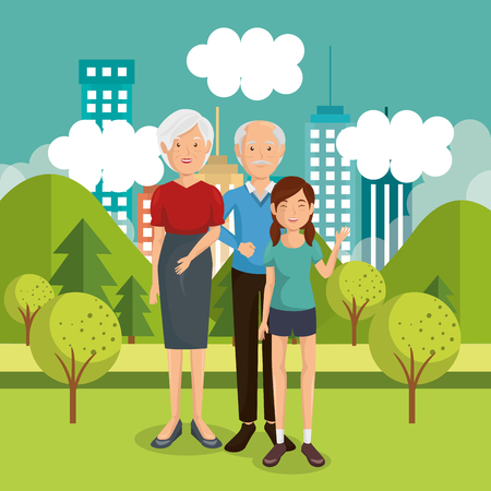 family members outside of the house vector illustration design Stock Illustration - 96159374
