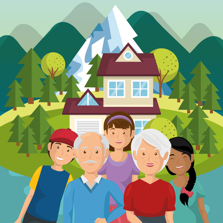 family members outside of the house vector illustration design Banque d'images