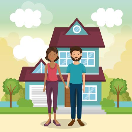 family members outside of the house vector illustration design 向量圖像
