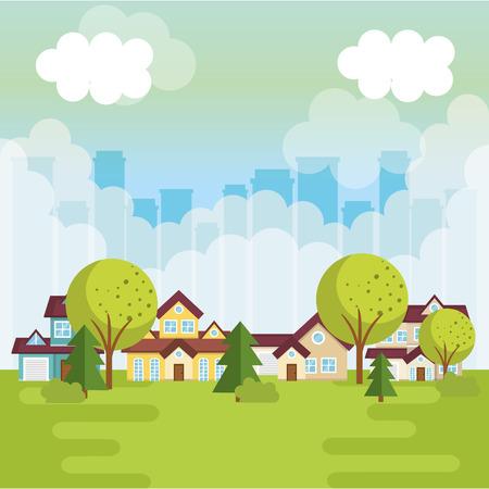 A landscape with neighborhood scene vector illustration design