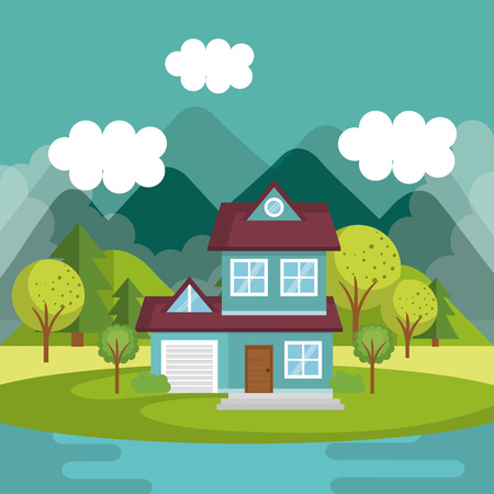landscape with house and lake scene vector illustration design Vectores