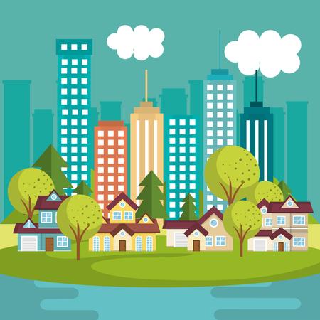 A landscape with neighborhood and lake scene vector illustration design
