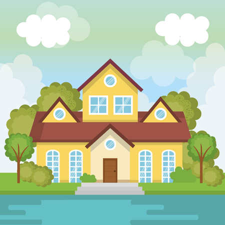 A landscape with house and lake scene vector illustration design Banco de Imagens - 96170358