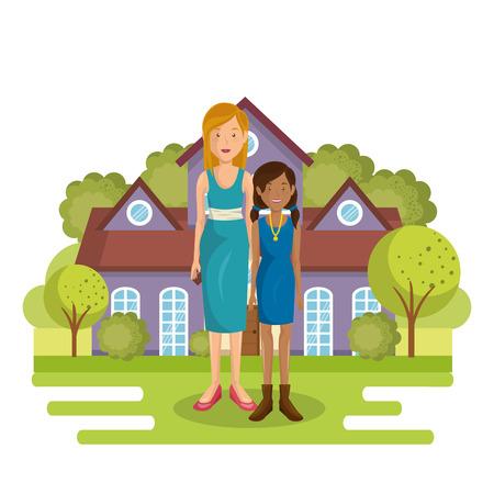 A family members outside of the house vector illustration design Illusztráció