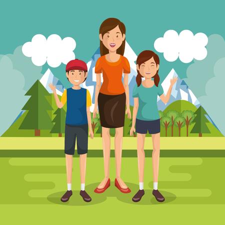 family members outside in landscape vector illustration design Çizim