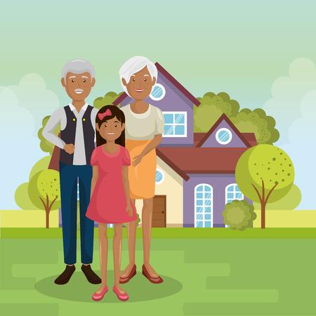 family members outside of the house vector illustration design Illustration