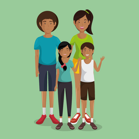 A father and mother with son and daughter vector illustration design