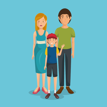 A father and mother with son vector illustration design