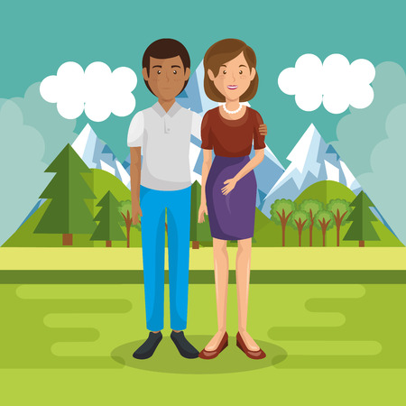A parents couple outside in landscape vector illustration design