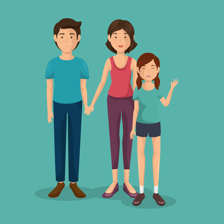 A father and mother with daughter vector illustration design Stock Illustratie