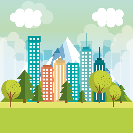 landscape with neighborhood scene vector illustration design