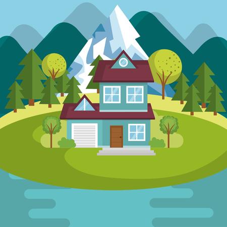 landscape with house and lake scene vector illustration design Illustration