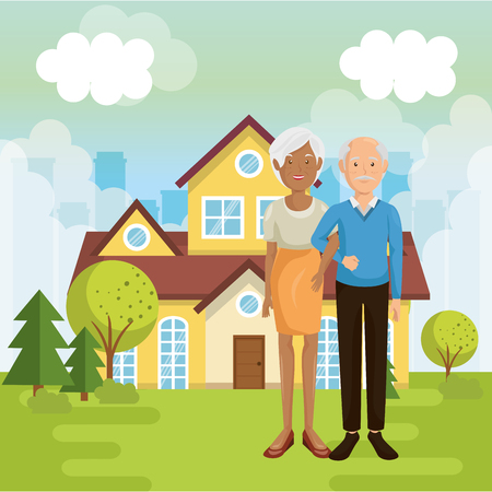 A family members outside of the house vector illustration design Stock Vector - 96170552