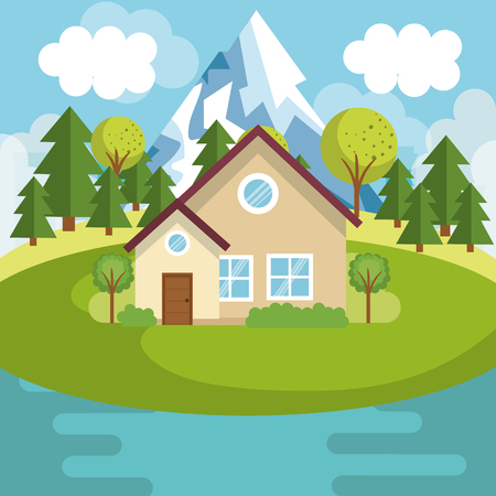 A landscape with house and lake scene vector illustration design