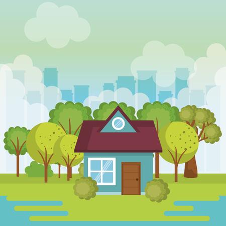 landscape with house scene vector illustration design Çizim