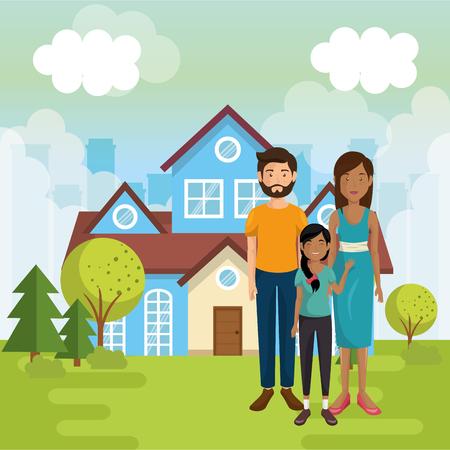 family members outside of the house vector illustration design 일러스트