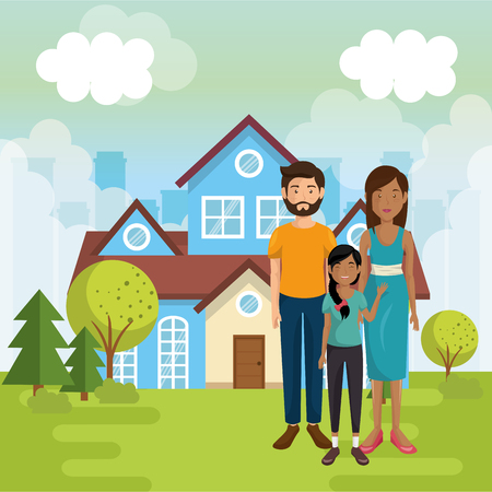 family members outside of the house vector illustration design Ilustração
