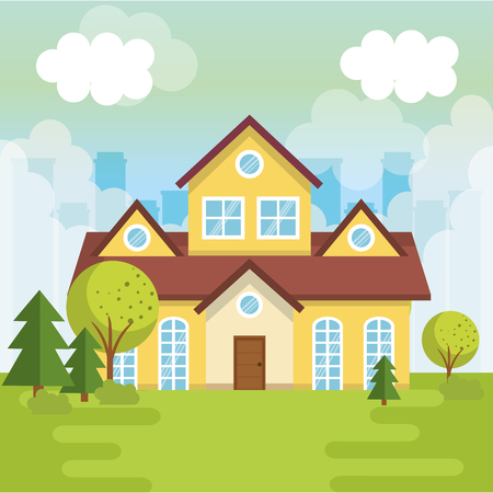 A landscape with house scene vector illustration design Stock Illustratie