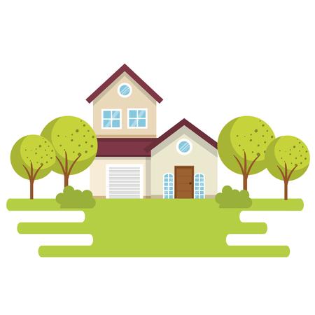 A landscape with house scene vector illustration design Illustration