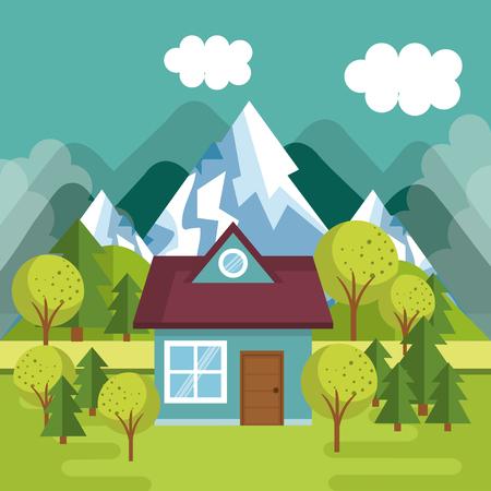 A landscape with house scene vector illustration design Çizim