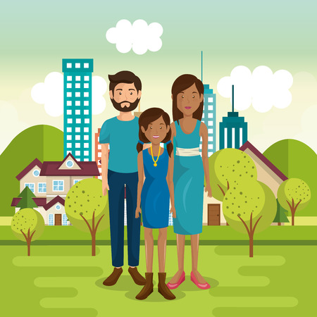 A family members outside of the house vector illustration design Illustration