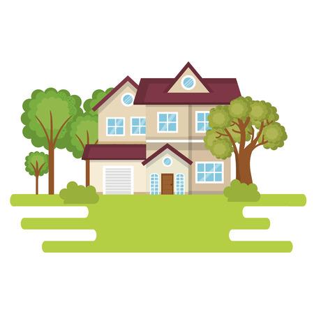 landscape with house scene vector illustration design Ilustração
