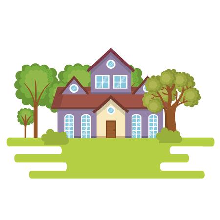 A landscape with house scene vector illustration design 일러스트