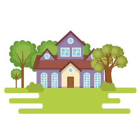 A landscape with house scene vector illustration design Vettoriali