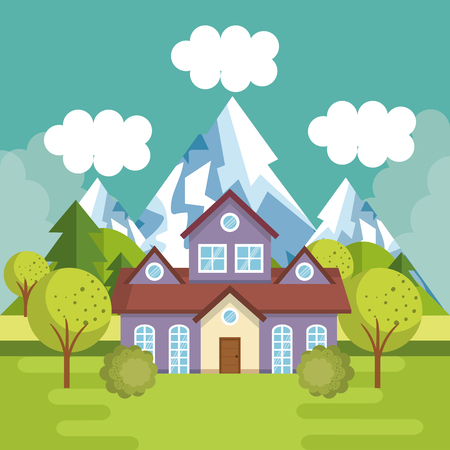 A landscape with house scene vector illustration design Ilustracja