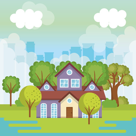 A landscape with house scene vector illustration design Vectores