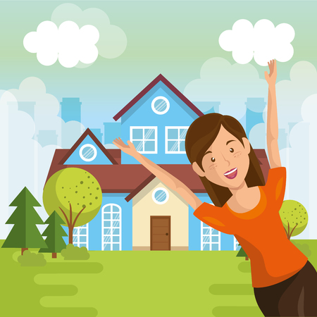 landscape with house and woman scene vector illustration design Vettoriali